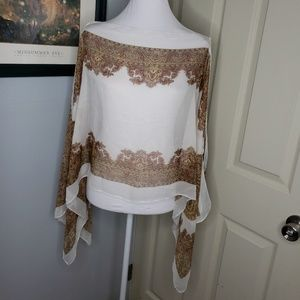 New! Zeagoo Scarf Top Shall One Size Paisley Print